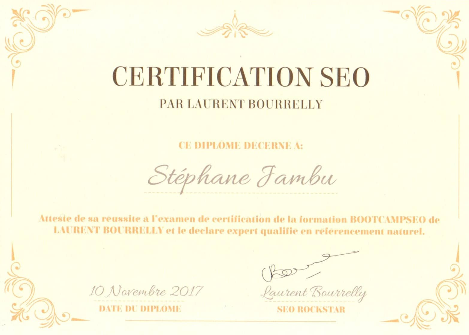 Certification Laurent Bourrelly - BootCampSEO