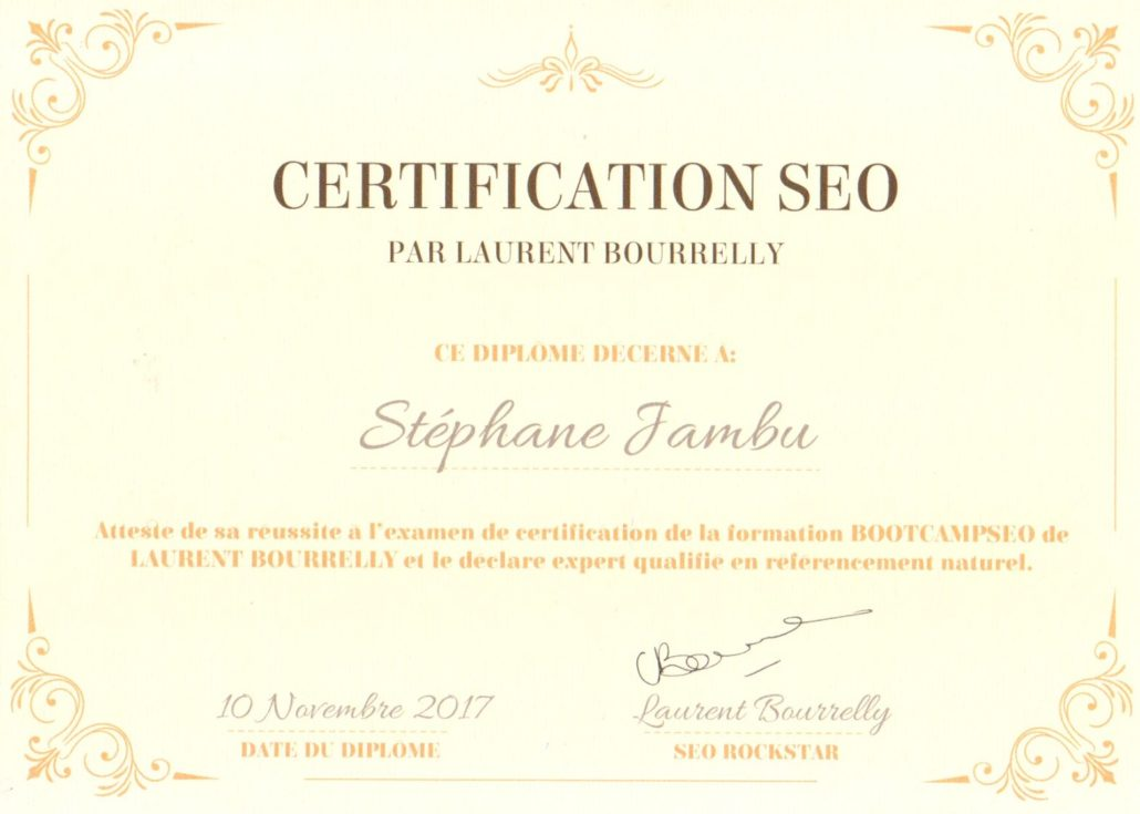 Laurent Bourrelly's BootCampSEO certification